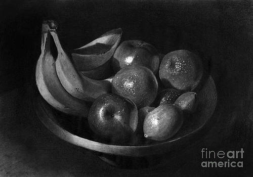 Fruits in a bowl Graphite drawing by Gabor Bartal