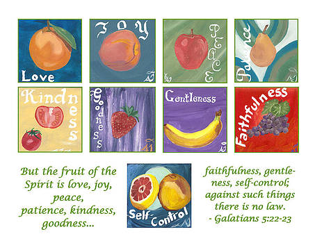 Fruits of the Holy Spirit - White Background by Amber Joy Eifler