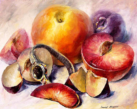 Fruits - PALETTE KNIFE Oil Painting On Canvas By Leonid Afremov by Leonid Afremov