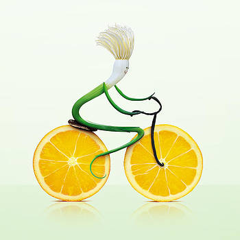 Fruity Veggie Scallion riding bike by Philip Holt