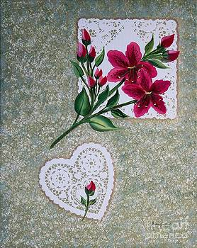 Barbara Griffin - Fuchsia Daylilies on Doilies