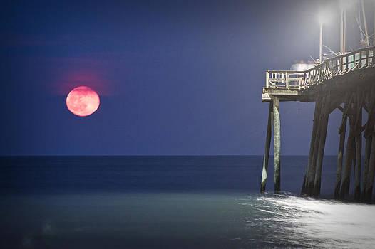 Full Moon at Carolina Beach Pier by Phil Mancuso