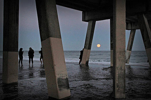 Full Moon at Johnnie Mercer's Pier by Phil Mancuso