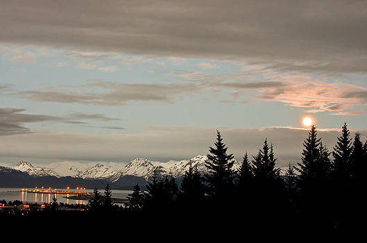 Full Moon Over Homer Alaska by Natasha Bishop