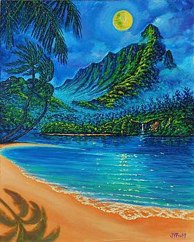 Full Moon over Kahana Bay by Joseph   Ruff