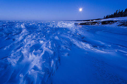 Full Moon Over Lake Superiot by Steve Burns