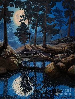 Full Moon Over Pine Woods by John Cruse Knotts
