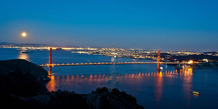 Full Moon over San Francisco Bay by Jorge Guerzon