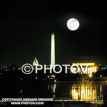 Full Moon Over Washington DC by Hisham Ibrahim