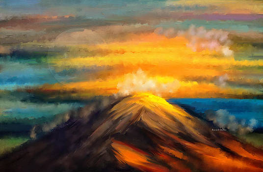 Full Moon Over Yellow Clouds And Mountain by Angela Stanton