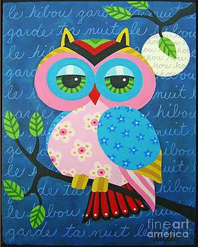 Full Moon Owl on a Branch by LuLu Mypinkturtle