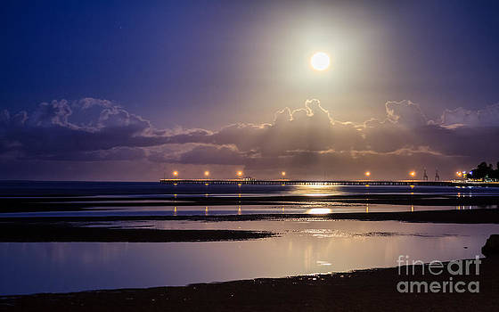 Full Moon Rising over Sandgate Pier by Silken Photography