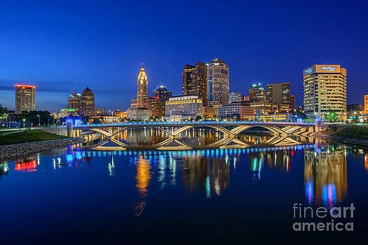 FX2L530 Columbus Ohio night skyline photo by Ohio Stock Photography