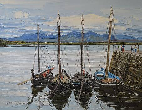 Galway Hookers Roundstone Connemara Ireland by Diana Shephard