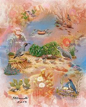 Gambel Quail Collage-Southwest Art by Judy Filarecki