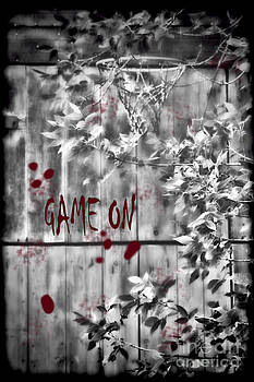 Game On Basketball Black and White by Cathy Beharriell