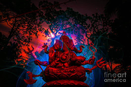Ganesh light painting in the light of the Super Moon by Shawn  Bowen