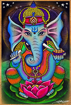 Ganesha with lotus flower by Julie Oakes