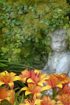 Sandra Foster - Garden Girl And Orange Lilies Digital Watercolor