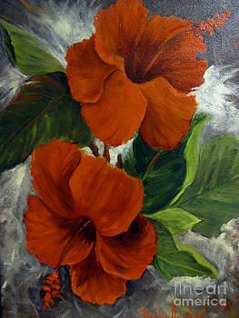 Garden Red Hibiscus by Barbara Haviland