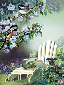 Chickadees in blossom tree by Regina Femrite