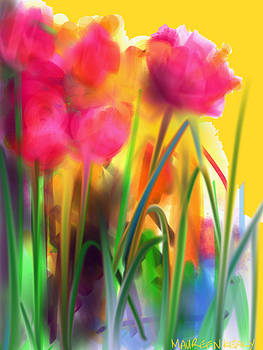 Garden Tulips in Full Bloom by Maureen Kealy