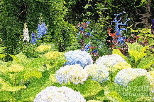 Beverly Claire Kaiya - Garden with White Lavender Hydrangeas and Bluebells