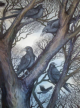 Gathering a Murder of Crows II by Helen Klebesadel