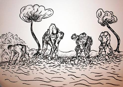 Gathering Potatoes by Paul Morgan