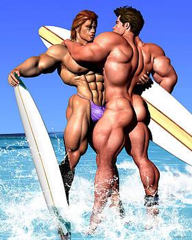 GAY SURFER Art Digital Painting Surfing Surf Nude Naked Couple Bodybuilder Beach Vykkurt by    Vykkurt