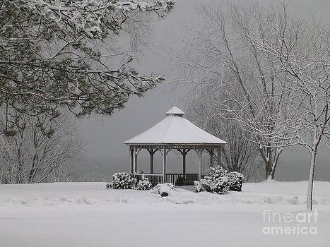 Gazebo in Winter by Avis  Noelle