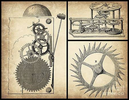 Gears INDUSTRIAL or Steampunk Collage Art by Tricia CastlesNcrowns