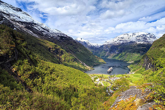 Geiranger Fjord View From Flydalsjuvet by Alex Galiano
