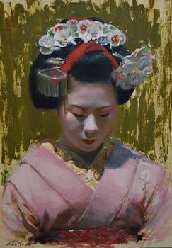 Geisha art - Portrait of a Maiko by Phil Couture