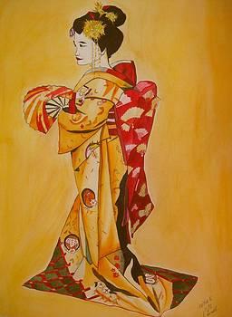 Geisha in Gold Kimono by Sacha Grossel