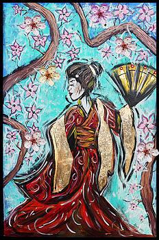 Geisha in the cherry blossoms by Tara Richelle
