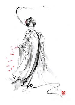 Geisha with cherry blossom flower by Mariusz Szmerdt