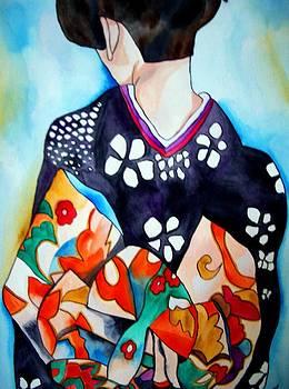 Geisha with colourful Obi by Sacha Grossel