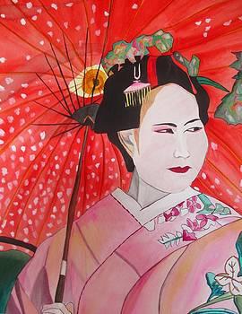 Geisha with Red Umbrella by Sacha Grossel