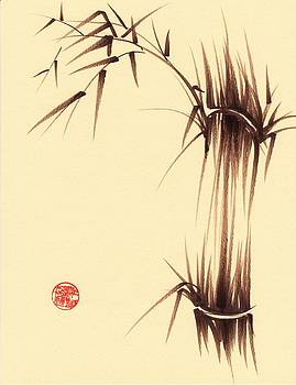 Genmai Cha - Sumie Ink Brush Bamboo Painting by Rebecca Rees