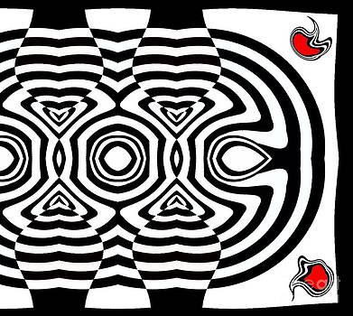 Drinka Mercep - Geometric Abstract Black White Red Art No.169