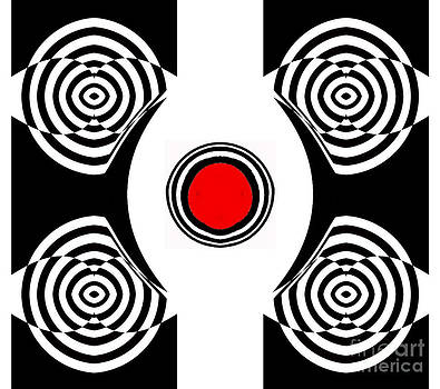 Geometric Abstract Black White Red Art No.400 by Drinka Mercep