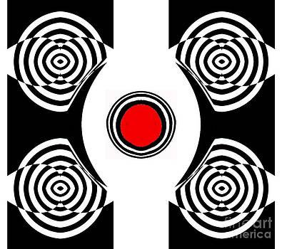 Drinka Mercep - Geometric Abstract Black White Red Art No.400