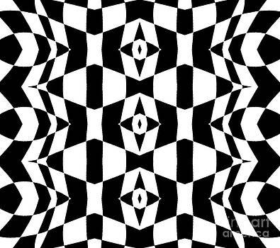 Drinka Mercep - Geometric Black White Op Art Pattern Abstract Art No.205.