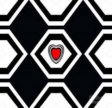 Minimalism Black White Red Heart Abstract Art No.183. by Drinka Mercep