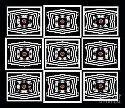 Geometric Op Art Black White Red Digital Abstract Print No.378. by Drinka Mercep