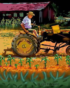 George on his tractor by Philip Gianni