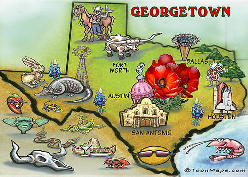 Kevin Middleton - Georgetown Texas Cartoon Map
