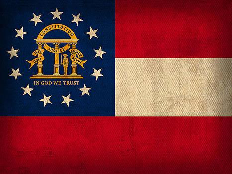 Design Turnpike - Georgia State Flag Art on Worn Canvas