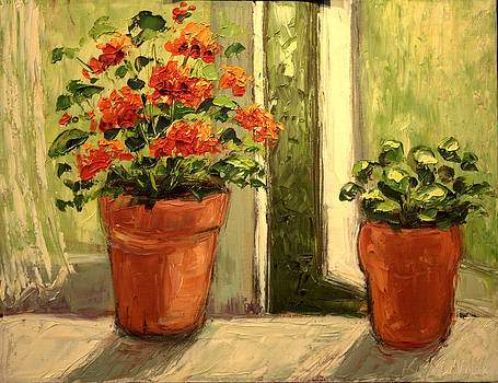 michaelalonzo   kominsky - Geraniums in the Window Paint Along with Nancy PBS